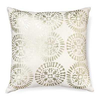 "Metallic Decorative Pillow Square (18""x18"") Cream - Polyester fill insert - Target"