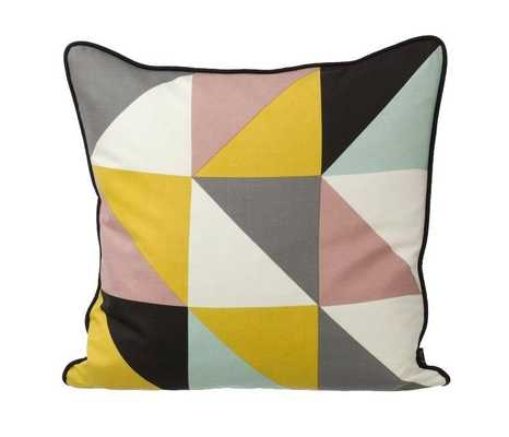 """Remix Yellow Pillow - 20"""" x 20"""" - Feather and down insert - Domino"""