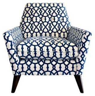 Porter Velvet-Print Chair, Navy/White - One Kings Lane