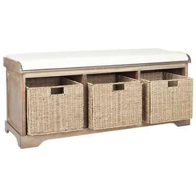 Safavieh Lonan Grey Wash/ White Storage Bench - Overstock