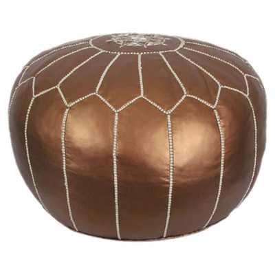 Metallic Moroccan Pouf Ottoman - Matte Bronze - Wayfair