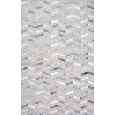 NuLOOM Handmade Modern Patchwork Herringbone Leather/ Viscose Silver Rug (5' x 8') - Overstock