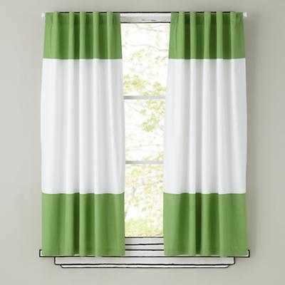 "Color Edge Curtains (Green) - 42""Wx84""H - Land of Nod"