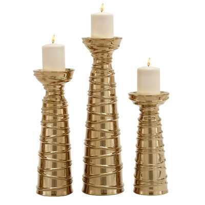 3 Piece Ceramic Candlestick Set - Wayfair