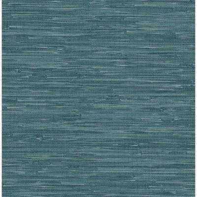 56 sq. ft. Natalie Teal Faux Grasscloth Wallpaper - Home Depot