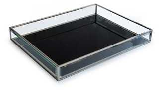 """16"""" Glass Tray, Black - One Kings Lane"""