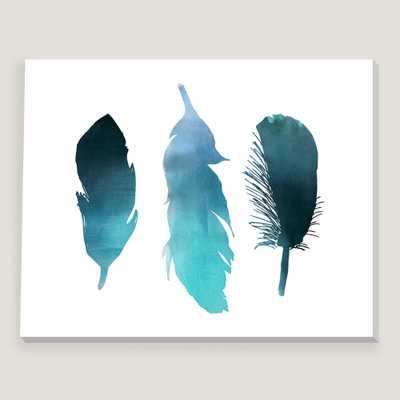 "Blue Turquoise Watercolor Bird Feather Wall Art - 24""W x 1.5""D - Unframed - World Market/Cost Plus"