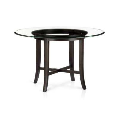 """Halo Ebony Round Dining Table with 42"""" Glass Top - Crate and Barrel"""
