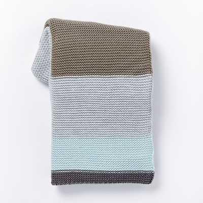 Multi Stripe Knit Throw - Clearwater - West Elm