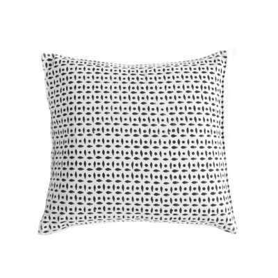 "Soorya Pillow - 18"" L X 18"" W X 5"" H - Black, white - with Insert - Domino"