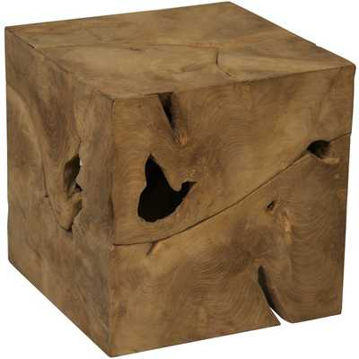 Root Cube Teak Wood Side Table - Overstock