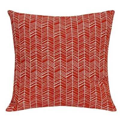 "Outdoor Pillow - Red Herringbone - Room Essentialsâ""¢ - 15.000L x 15.000W - Polyester  insert - Target"