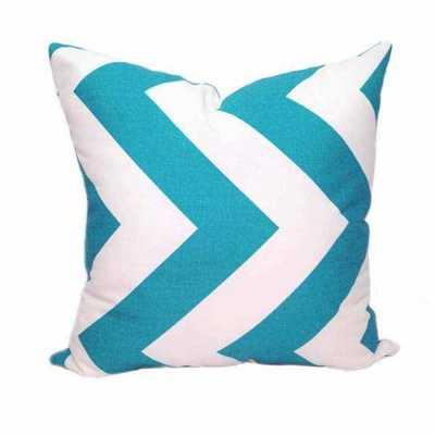 "Zippy Turquoise Chevron Pillow - 18"" x 18"" - Insert Sold Separately - landofpillows.com"