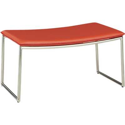 Triumph red-orange ottoman - CB2