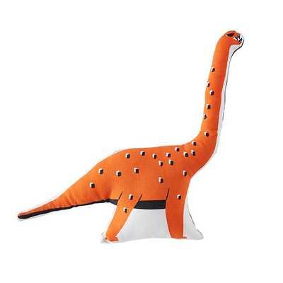 Orange Dinosaur Retro Reptile Throw Pillow - 18x18 - With Insert - Land of Nod