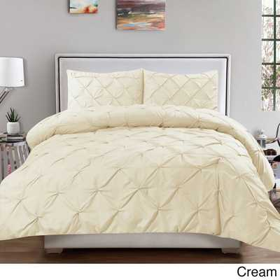 Classic and Chic Pintuck Pinch Pleated 3-piece Comforter Set - Overstock