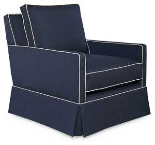 Avon Swivel Chair, Sunbrella Indigo - One Kings Lane
