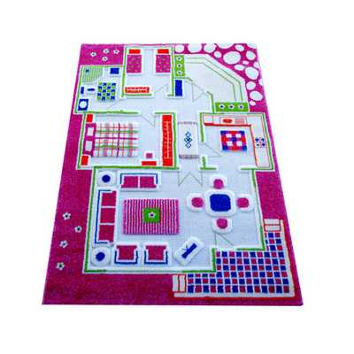 IVI Carpet - 3D Playhouse Pink Play Rug - AllModern
