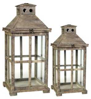 Asst. of 2 Colonial Lanterns, Brown - One Kings Lane