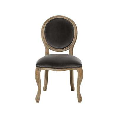 MARGOT UPHOLSTERED DINING SIDE CHAIR IN VELVET STEEL AND WEATHERED - Arhaus