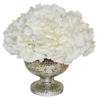 "13"" Hydrangea Bouquet in Vase, Faux - One Kings Lane"