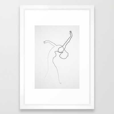 """One line Dancer Framed Art Print 15"""" x 21"""" - Society6"""
