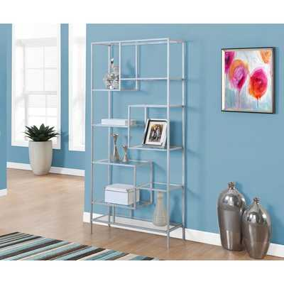 Bookcase 72 inch Silver Metal With Tempered Glass - Overstock