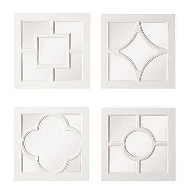 Square MDF Framed Mirror White Finish Set Of 4 Styles Country Home Wall D - Amazon