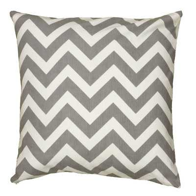 "Chevron Cotton Throw Pillow- Gray - 18"" H x 18"" W - Cotton fill - Wayfair"