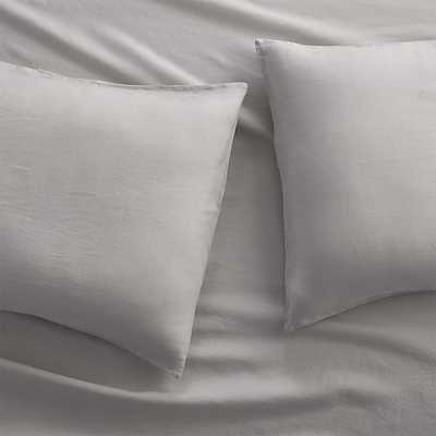 Set of 2 Lino II Light Grey Linen King Pillow Cases - Crate and Barrel