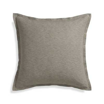 """Linden Mushroom Grey 23"""" Pillow with Feather-Down Insert - Crate and Barrel"""