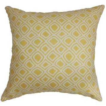"Cacia Geometric Pillow Yellow - 18"" x 18"" - polyester insert - Linen & Seam"