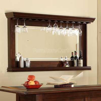 Distressed Walnut Bar Mirror - furniturecart.com