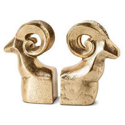 Metal Big Horn Sheep Bookends Set of 2 - Target