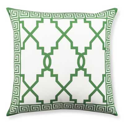 """Outdoor Printed Gate with Greek Key Border Pillow, Emerald - 22"""" sq. -insert included - Williams Sonoma"""