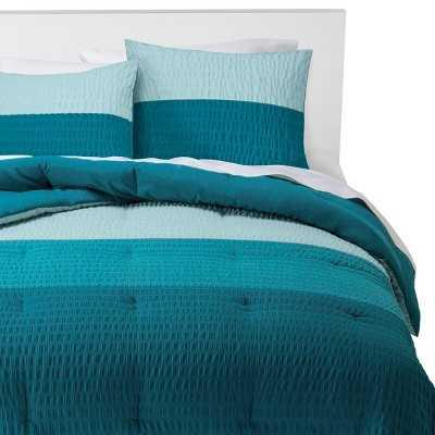 Room Essentials® Textured Colorblock Comforter Set - Blue - Target