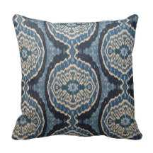 """Navy Blue Tribal Ikat Throw Pillows- 16"""" x 16""""*-Synthetic-filled insert - zazzle.com"""