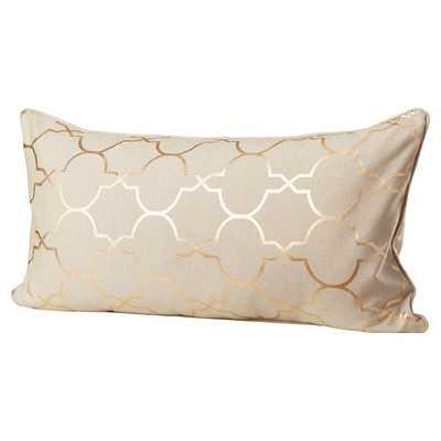 Salisbury Foil Tile Lumbar Pillow - Gold - 14x26 - With Insert - Wayfair