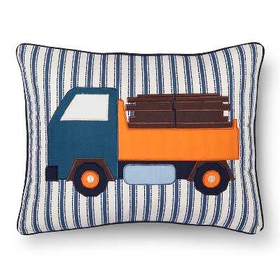 Sheringham Road Daniel Applique Truck Pillow - Orange- 14.000L x 18.000W- Polyester fill insert - Target