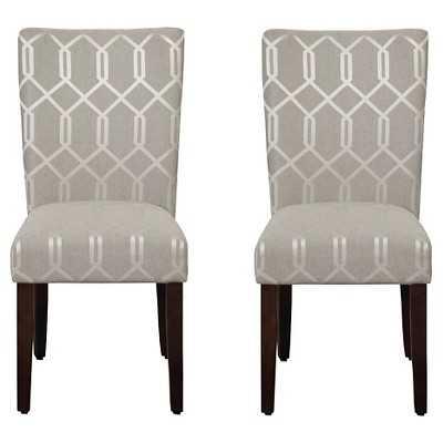 HomePop Parson Dining Chair Gray Lattice (Set of 2) - Target