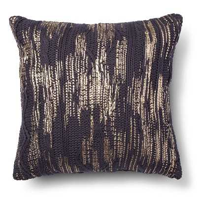 "Nate Berkusâ""¢ Metallic Cable Knit Decorative Pillow - Blue (Square) - Target"