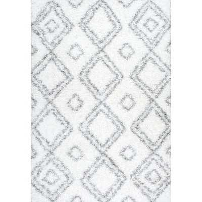 nuLOOM Alexa My Soft and Plush Moroccan Trellis White/ Grey Easy Shag Rug - Overstock
