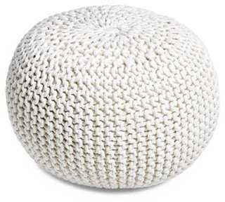 Kelli Knitted Pouf, White - One Kings Lane