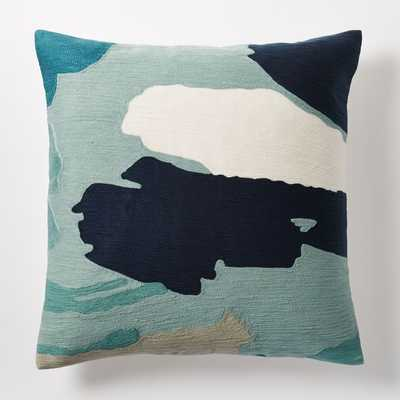 """Modern Brushstroke Crewel Pillow Cover, Light Pool - 20""""sq - Without insert - West Elm"""