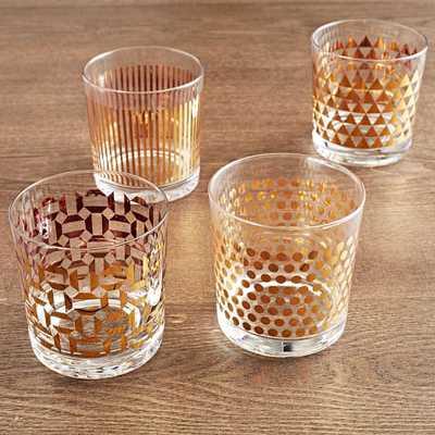 Metallic-Print Glassware (Set of 4) - West Elm