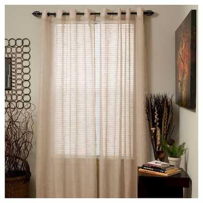 "Yorkshire Home Mia Jacquard Grommet Curtain Panel - Beige - 54""W x 95""L - Target"