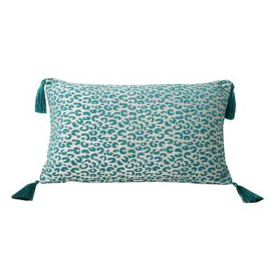 "Gabriella Cheetah Feather Filled Tassle Pillow- 12""x12""- Nile Blue - Overstock"