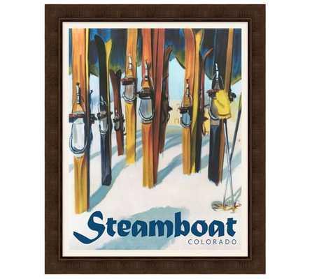 "Framed Steamboat Vintage Ski Poster-26"" wide x 32"" high x 0.75"" thick- Framed - Pottery Barn"