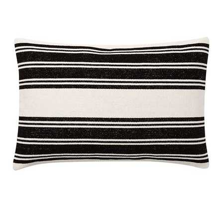"""Awning Stripe Dhurrie Lumbar Pillow Cover, Black - 20"""" x 30"""" - Without insert - Pottery Barn"""