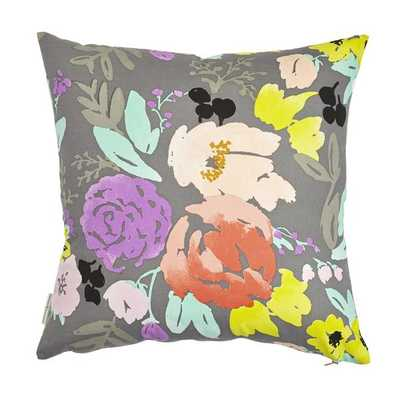 "BRIDGE CITY BLOOMS PILLOW ON GREY - 20"" x 20"" - insert not included - Caitlin Wilson"